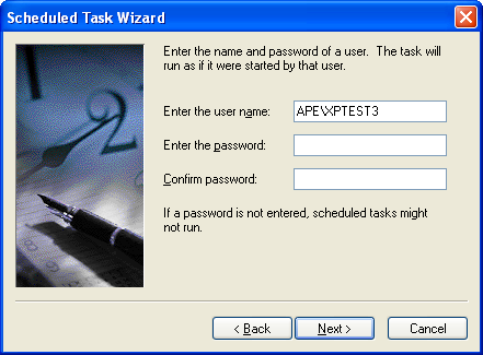 Enter Your Network Credentials for the Task Scheduler