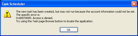 XP Task Scheduler Error Message