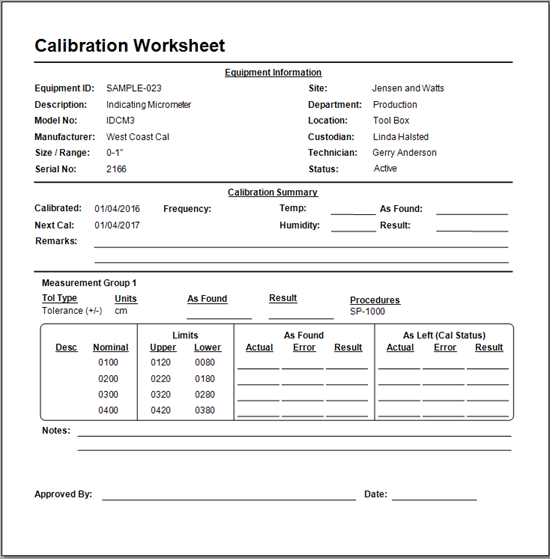 Calibration Worksheets