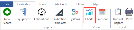 Calibration Charts in the Ribbon Menu