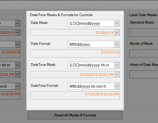 Date/Time Masks & Formats for Controls
