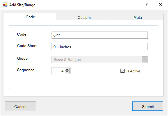 Edit Sizes and Ranges Dialog