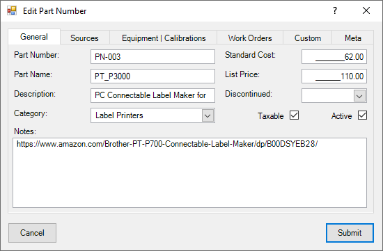 Part Numbers Dialog