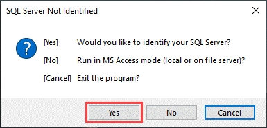 MS SQL Server Not Identified