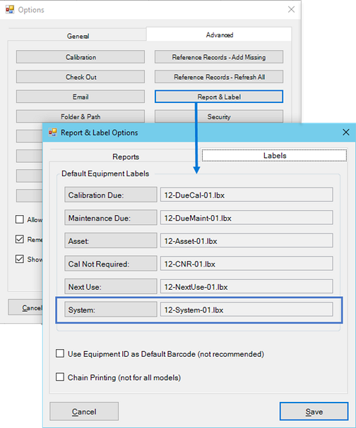 System in Program Options