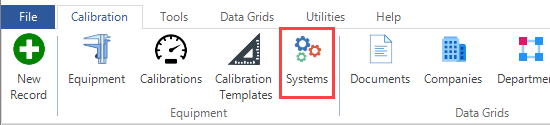 Systems in Ribbon Menu
