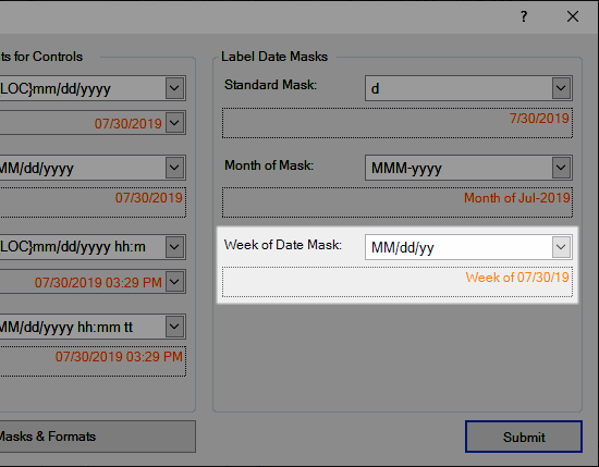 Week of Date Mask for Labels